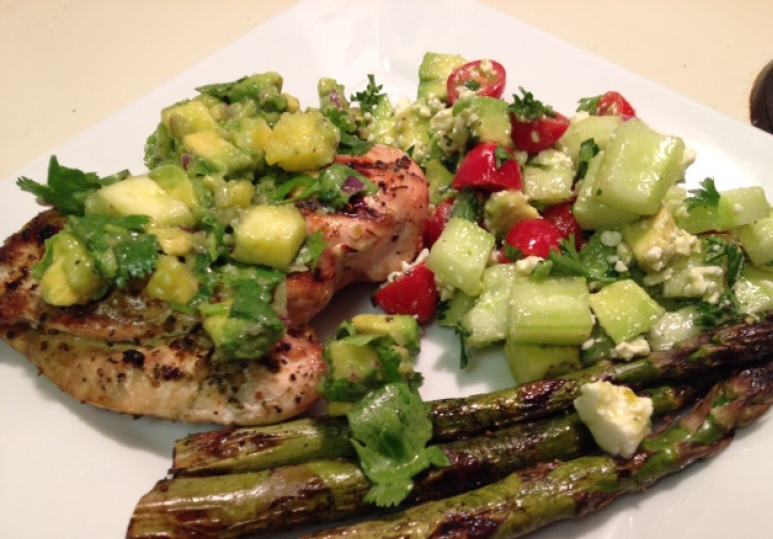 Grilled Chicken with Pineapple Avocado Salsa and Cucumber Avocado Salad
